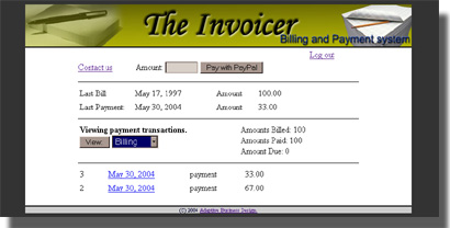 Client transactions screen
